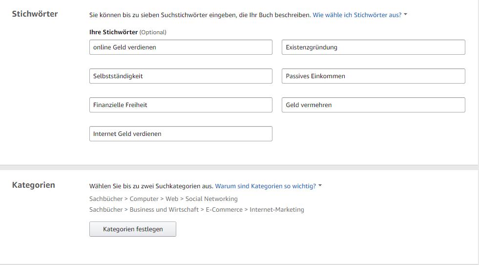 Stichwörter und Kategorien zu Amazon KDP