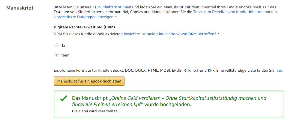 Manuskript hochladen, Amazon KDP