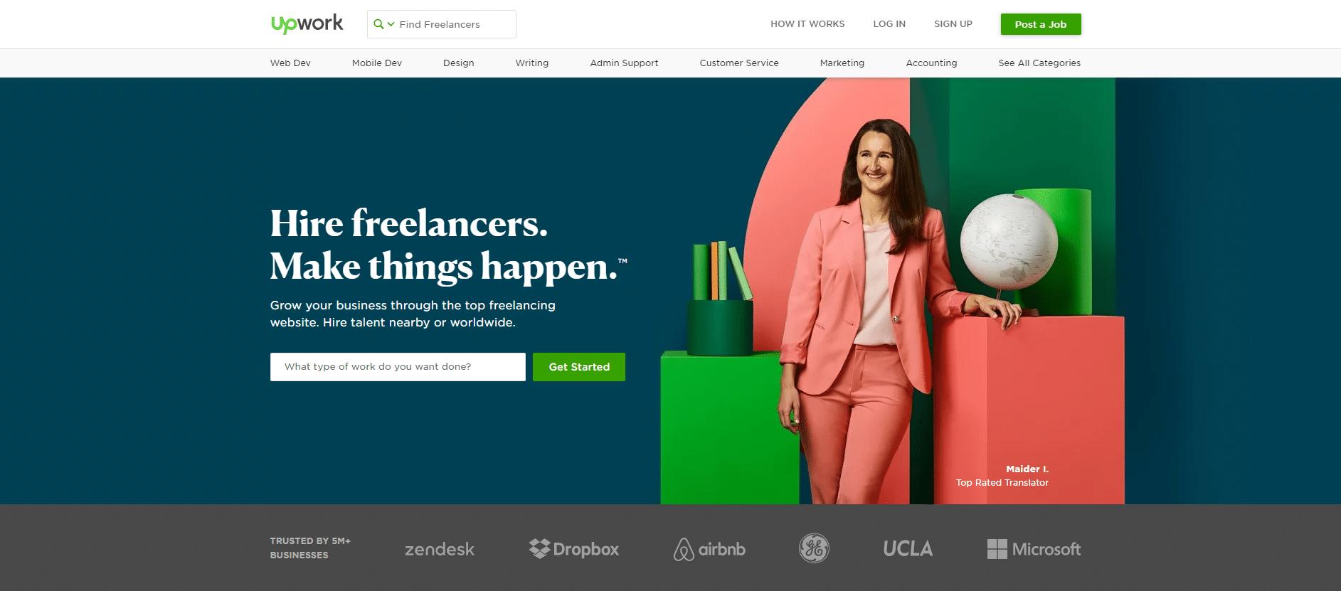 Upwork Anmeldung Homepage
